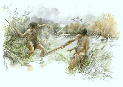 The team hypothesizes that hominins who lived at Schöningen — likely Homo heidelbergensis — used the newly-found weapon to hunt birds or smaller game or to hit larger game such as horses