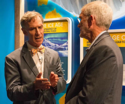 "Bill Nye, known from his 1990s TV show as ""The Science Guy,"" tours the exhibits aboard the full-scale replica of Noah's ark at the Ark Encounter theme park"
