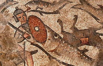 Fish swallowing Pharoah's soldier in the Parting of the Red Sea