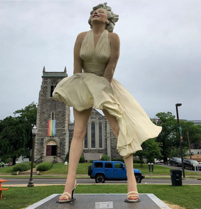 A 26-foot statue of the Hollywood star was installed across the street from a Connecticut church