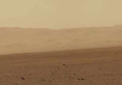 image from NASA's Curiosity rover shows part of the wall of Gale Crater