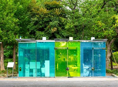 Pritker Prize-winning architect Shigeru Ban's transparent public toilets turn opaque when in use.